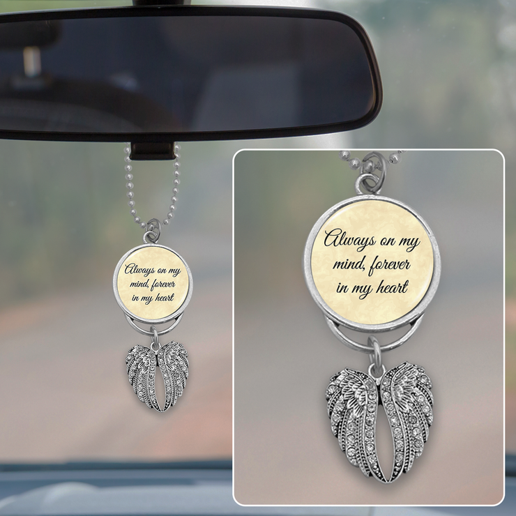 Always On My Mind Angel Wings Rearview Mirror Charm