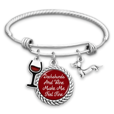 Dachshunds And Wine Make Me Feel Fine Charm Bracelet