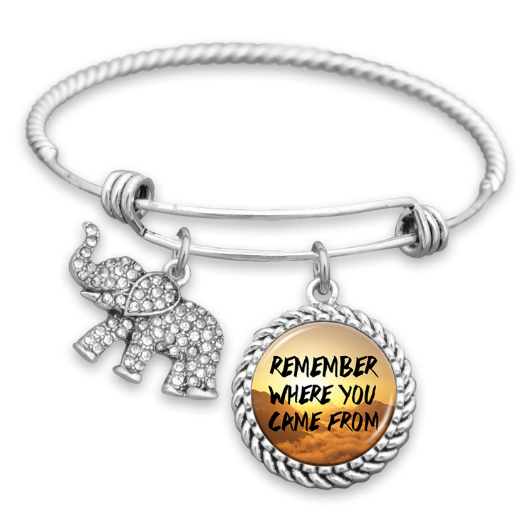 Remember Where You Came From Elephant Charm Bracelet