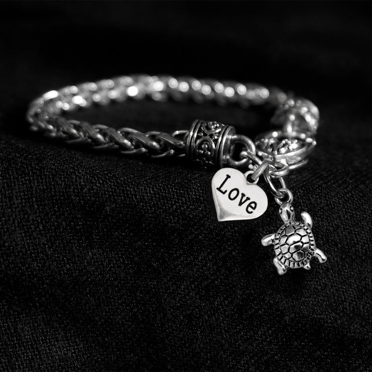 Turtle Love Silver Braided Clasp Charm Bracelet