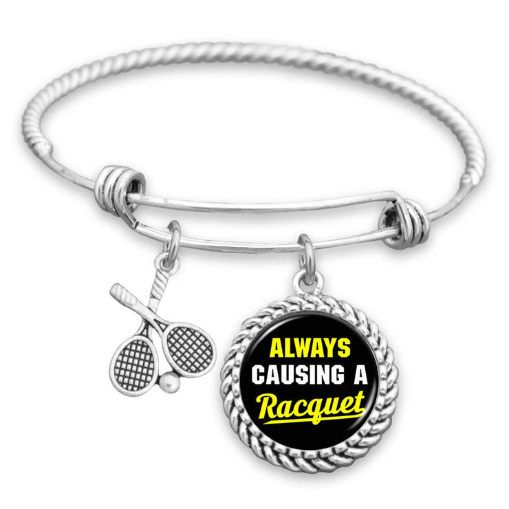 Always Causing A Racquet Tennis Charm Bracelet