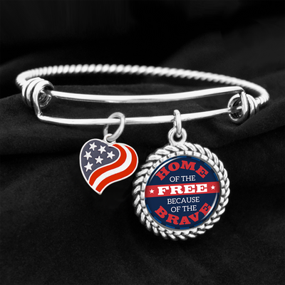 Home Of The Free Because Of The Brave Charm Bracelet