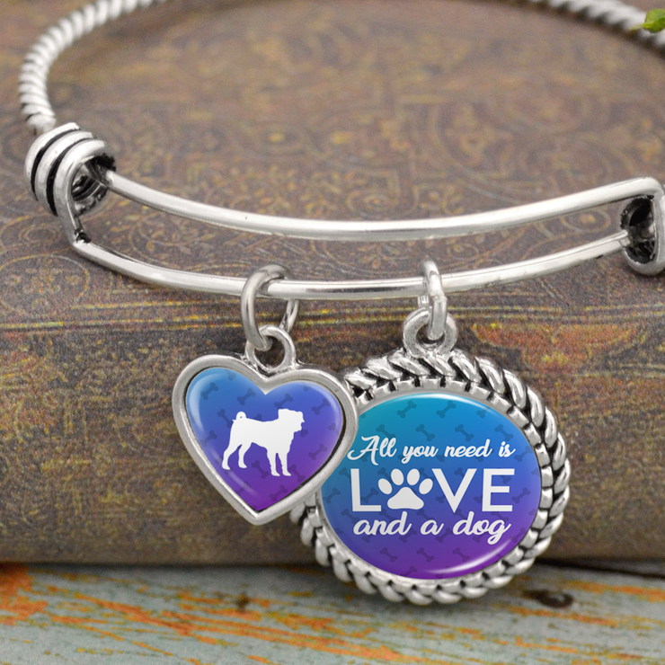 All You Need Is Love And A Dog Pug Charm Bracelet
