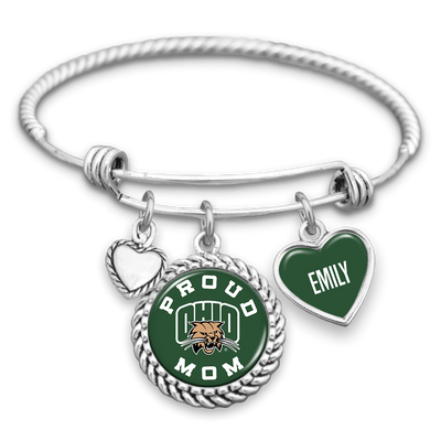 Customizable Ohio Bobcats Proud Mom Charm Bracelet