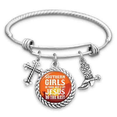 Southern Girls Do Their Best & Let Jesus Do The Rest Charm Bracelet