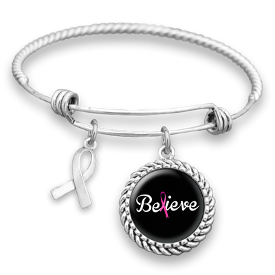 """Believe"" Breast Cancer Charm Bracelet"