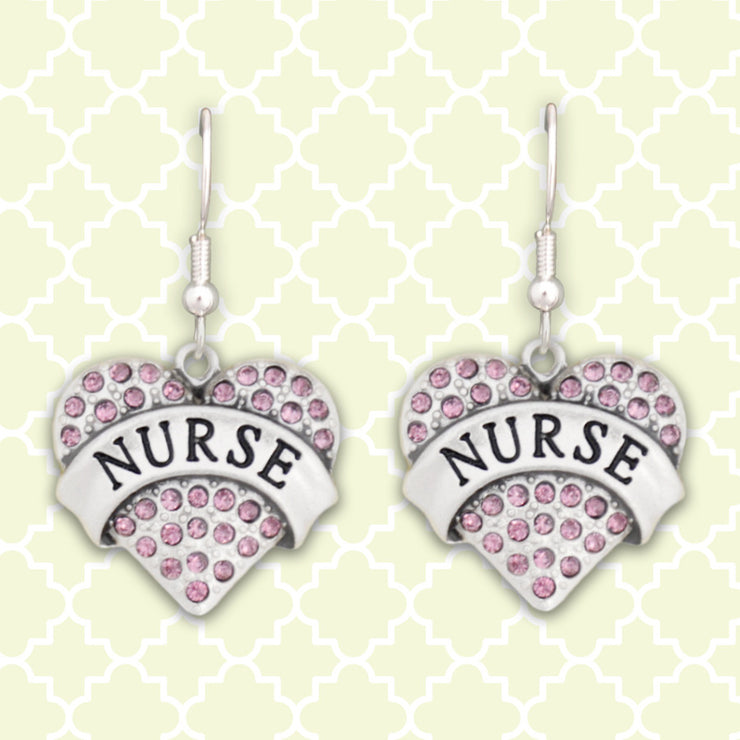 Nurse Heart Charm Earrings