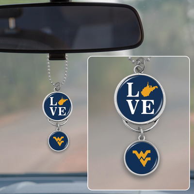 West Virginia Mountaineers Love Rearview Mirror Charm