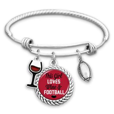 This Girl Loves Wine And Atlanta Football Charm Bracelet