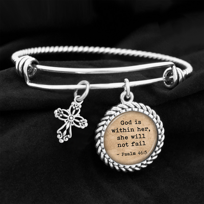 God Is Within Her, She Will Not Fail Psalm 46:5 Charm Bracelet