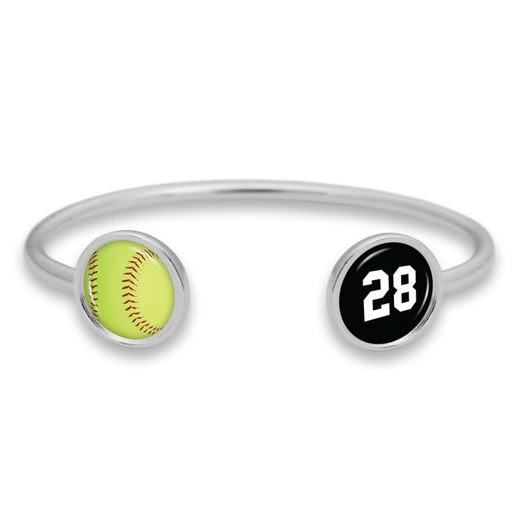 Softball Custom Number Duo Cuff Bracelet