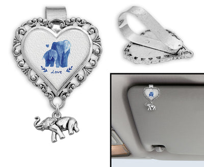 Watercolor Elephants Heart Auto Visor Clip