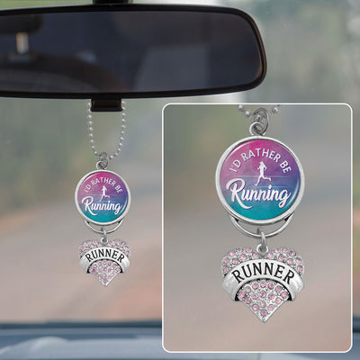 I'd Rather Be Running Rearview Mirror Charm