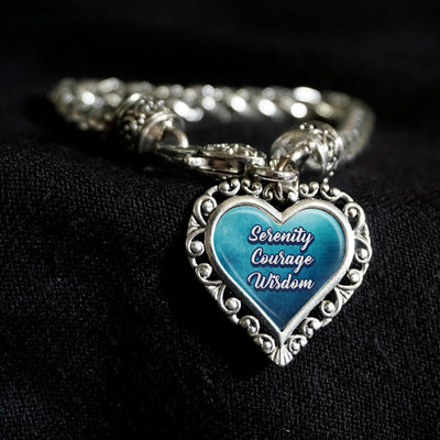 Serenity Prayer Heart Clasp Bracelet