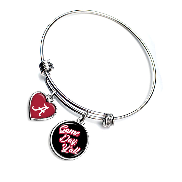 Alabama Crimson Tide Game Day Y'all Smooth Bangle Charm Bracelet