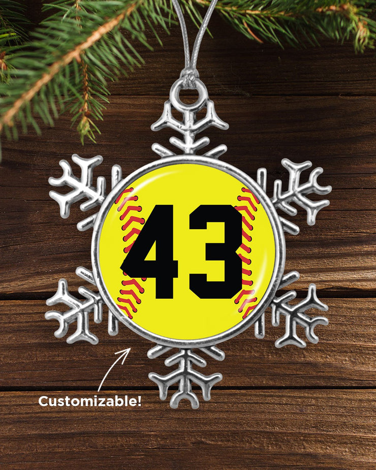 Customizable Softball Number Snowflake Ornament