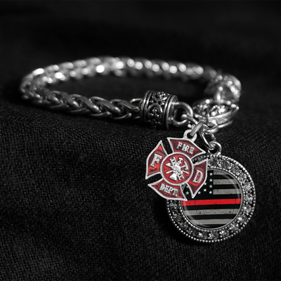 Thin Red Line Flag Silver Braided Clasp Charm Bracelet