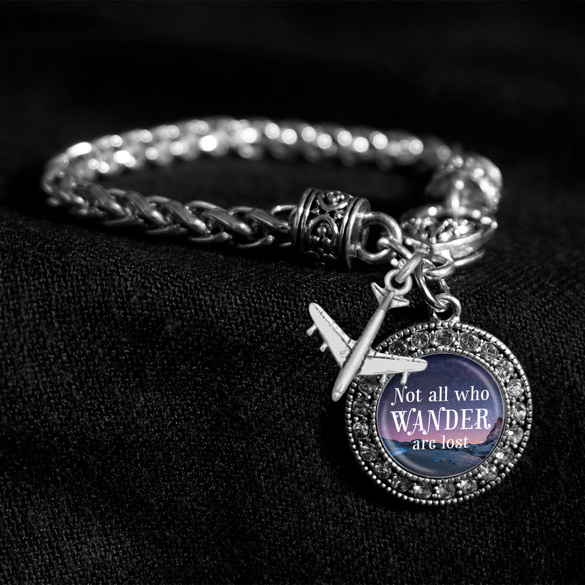 Not All Who Wander Are Lost Silver Braided Clasp Charm Bracelet