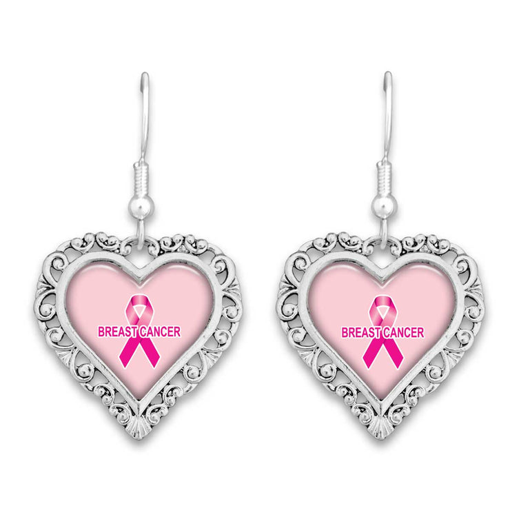 Breast Cancer Awareness Lace Trim Earrings
