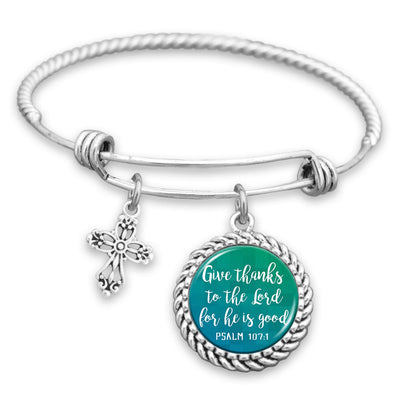 Give Thanks To The Lord, For He Is Good Charm Bracelet