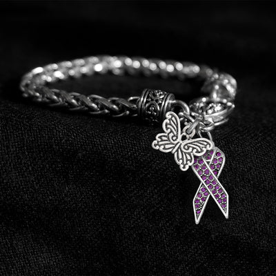 Butterfly Crystal Purple Lupus Awareness Ribbon Silver Braided Clasp Charm Bracelet