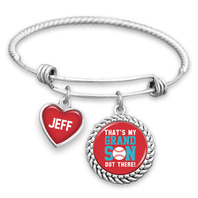 Baseball That's My Grandson Out There Customizable Charm Bracelet