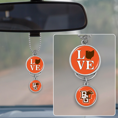 Bowling Green Falcons Love Rearview Mirror Charm