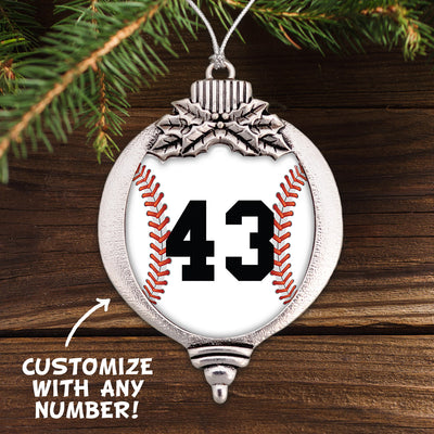 Customizable Baseball Number Bulb Ornament