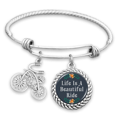 Life Is A Beautiful Ride Floral Bicycle Charm Bracelet