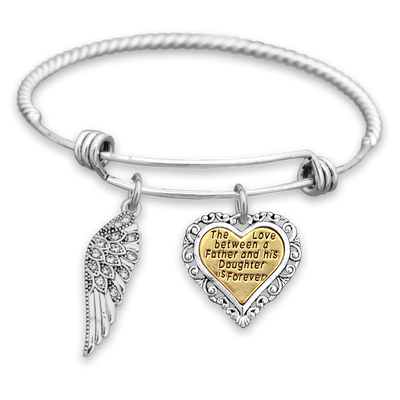 Love Between Father And Daughter Crystal Wing Engraved Charm Bracelet