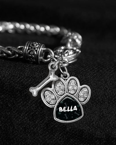 Customizable Pet Name Crystal Paw Silver Braided Clasp Charm Bracelet
