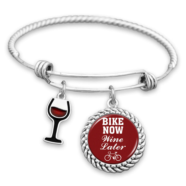 Bike Now, Wine Later Charm Bracelet