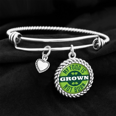 My Food Is Grown, Not Born Charm Bracelet