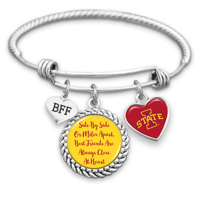 Iowa State Cyclones Side By Side Or Miles Apart BFF Charm Bracelet