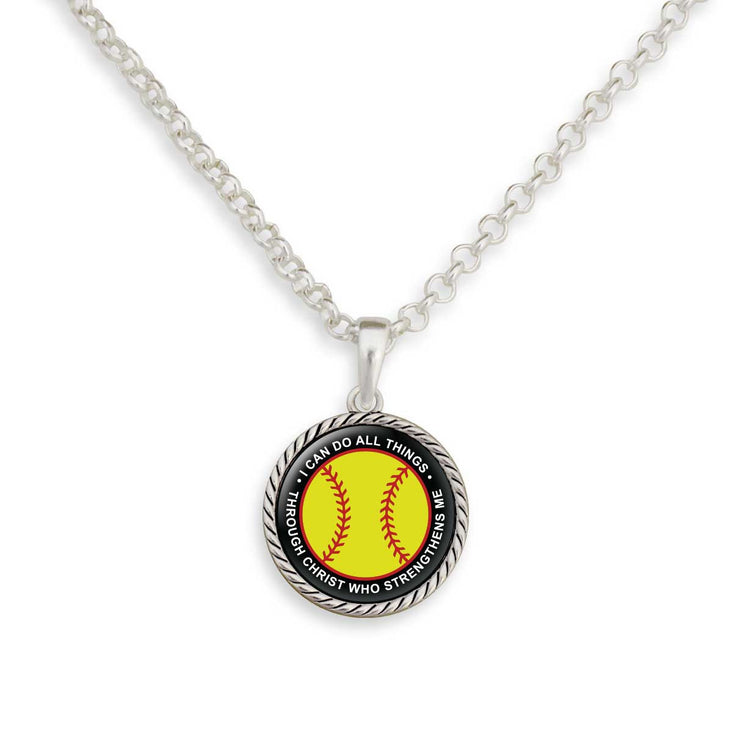 I Can Do All Things Through Christ Softball Necklace