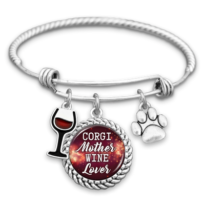 Corgi Mother Wine Lover Charm Bracelet