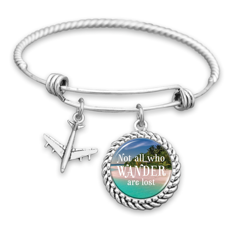 Beach Not All Who Wander Are Lost Airplane Charm Bracelet