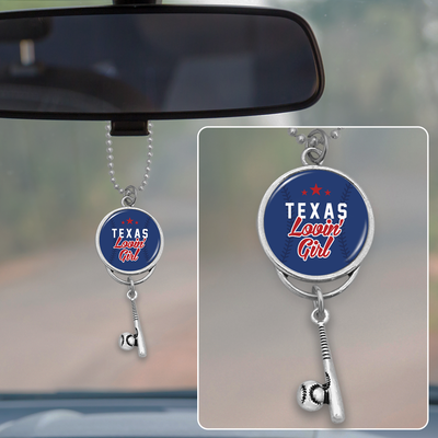Texas Lovin' Girl Baseball Rearview Mirror Charm