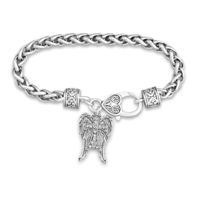 Crystal Wings With Cross Silver Braided Clasp Charm Bracelet