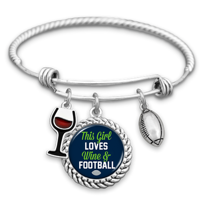 This Girl Loves Wine And Football Seattle Charm Bracelet