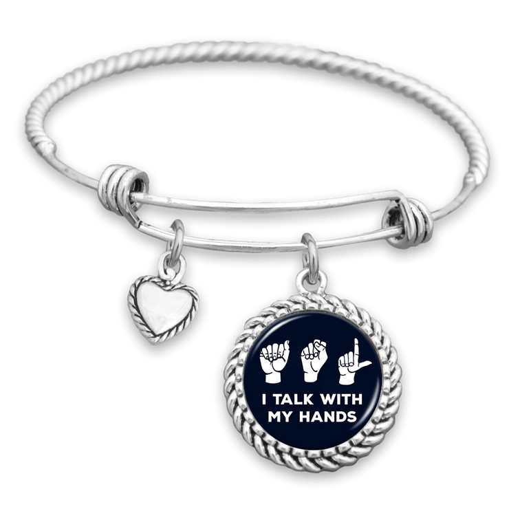 I Talk With My Hands ASL Charm Bracelet