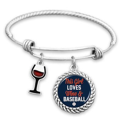 This Girl Loves Wine And Baseball Detroit Charm Bracelet