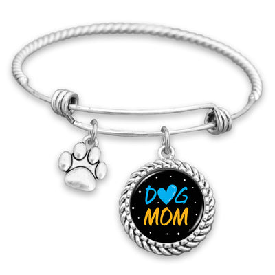 Dog Mom Cute Paw Print Charm Bracelet