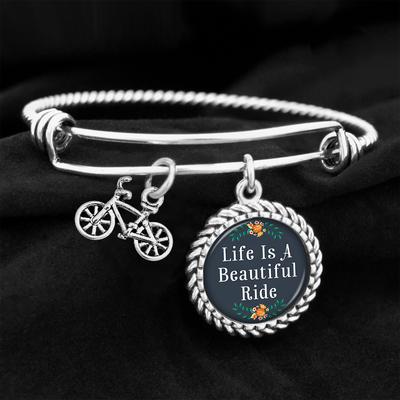 Life Is A Beautiful Ride Floral Bike Accent Charm Bracelet