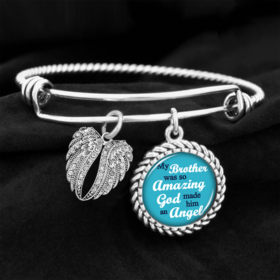 My Brother Was So Amazing Angel Wings Charm Bracelet