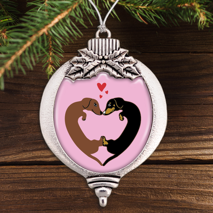 Heart Dachshunds Bulb Ornament