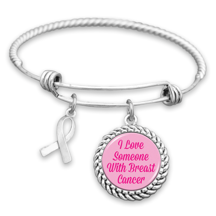 I Love Someone With Breast Cancer Ribbon Charm Bracelet