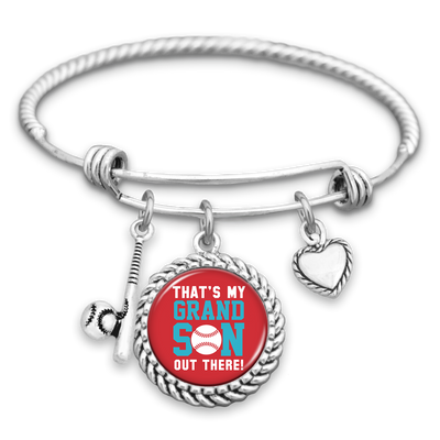 That's My Grandson Out There Heart And Baseball Bat Charm Bracelet