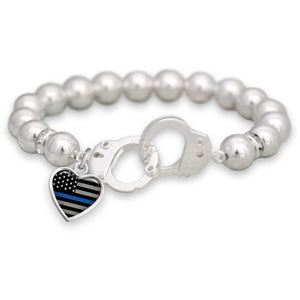 Thin Blue Line Police Handcuff Bracelet