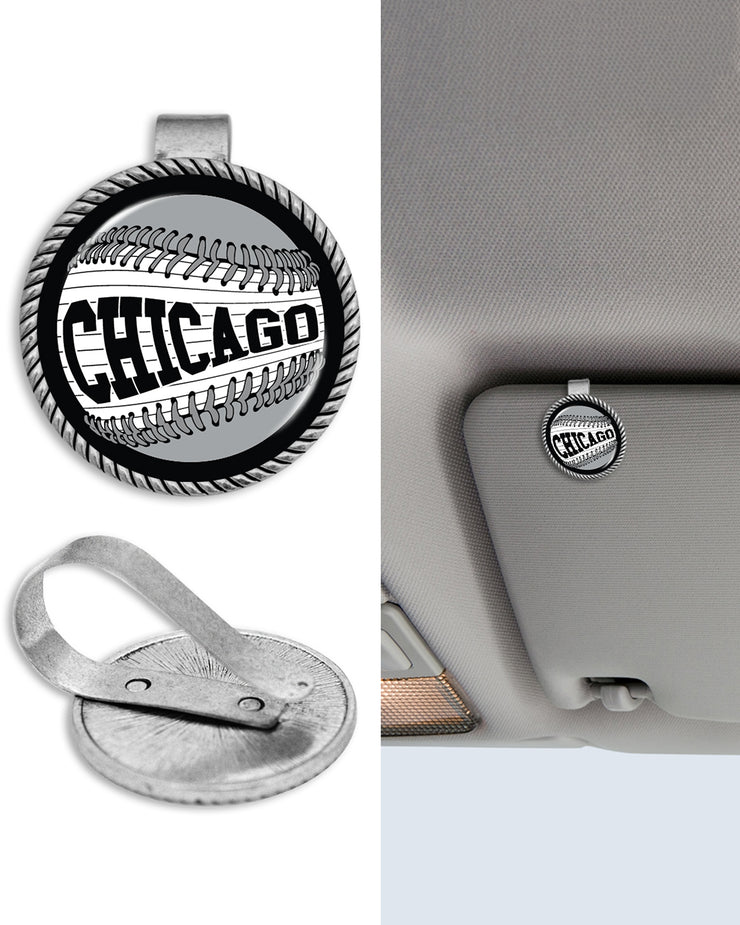 Chicago Baseball Black & White Circle Auto Visor Clip
